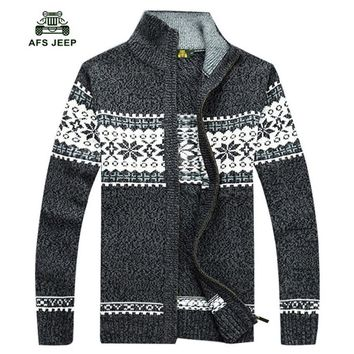 Free shipping 2017 Brand Men Knitting Sweaters Christmas Mens Thick Male Knitted Sweater Zipper Cardigan Jacket Coat 80hfx