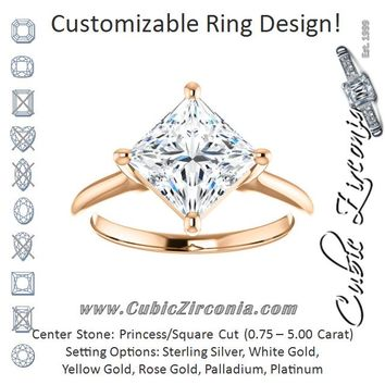 Cubic Zirconia Engagement Ring- The Adora (Customizable Princess/Square Cut Solitaire with Raised Prong Basket)