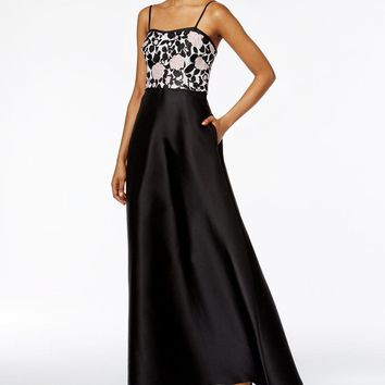 Adrianna Papell AP1E201123 Semi-Sweetheart Floral Embellished Dress