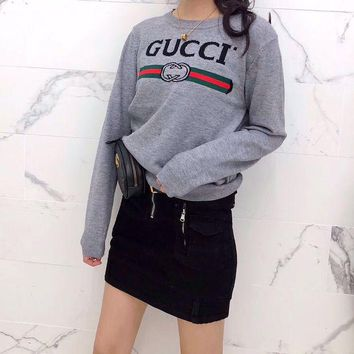 LMFON Chanel' Women Casual Fashion All-match Classic Letter Logo Long Sleeve Knit Sweater Tops