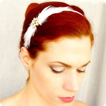Vintage Rhinestone Headband - White Satin Feathered Head Piece