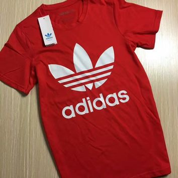 ADIDAS classic trend men and women with the same fashion short-sleeved F-KWKWM Red