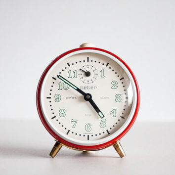 German Alarm Clock, 1960s Peter Silent Trio Clock, Desk Clock, Mechanical Office Clock, Bright Red White Morning
