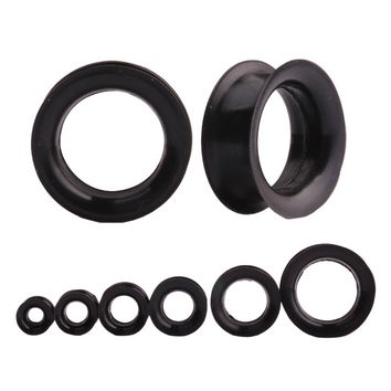 1 Pair Black Silicone Ear Expansion Hollow Ear Gauges Plugs Orelha Flesh Tunnels Body Piercing Jewelry