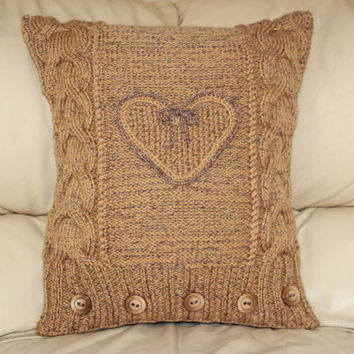 Knitted oatmeal cable cushion cover heart/owl pattern. Thrown pillow. Pillow cover