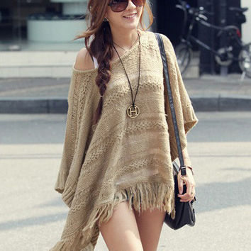 Khaki Bat Sleeves Cutout Knit Fringed Sweater