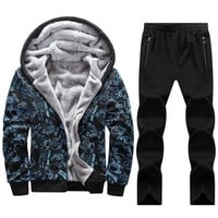 125kg Can Wear Big Size 7XL 8XL Men Hoodies Sets Sport Suits Warm Gym Tracksuit Man Sportswear Cartoon Pattern Run Jogging Suit