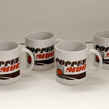 vintage retro 70s coffee mugs~set of 4~ship free antique coffee cups set of 4 coffe cups orange and browm coffee cup set