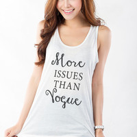 More issues than vogue Shirt White Tank Tops for Women Workout Tanks for Gym Burnout Tee Shirt Fitness Teens Girls Fangirl Tank Fashionista