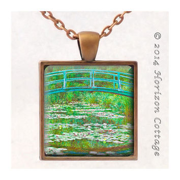 Claude Monet's Japanese Footbridge - Old Masters' Classic Artwork - Key Ring or Pendant - Your Choice of Finish