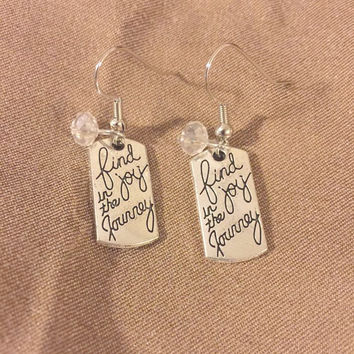 Inspirational Earrings - Silver Earrings - Stocking Stuffer - Gift Idea for Her - Quote Earrings - Holiday Gift Idea - Gifts for Women
