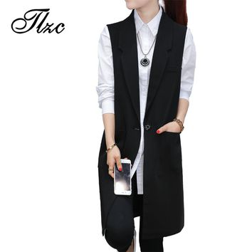 TLZC Black Women Vests Long Style 2017 New Trend Fashion Sleeveless Jackets Size S-XXL Office Lady Waistcoat Solid Color