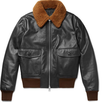 AMI - Shearling-Trimmed Leather Jacket