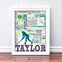 Field Hockey Poster, Personalized Field Hockey Typography Wall Art Print - 11 x 14
