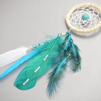 Rear View Mirror Charm, Emerald Dreamcatcher with Turquoise stone, Car Charm, Small Dream Catcher.