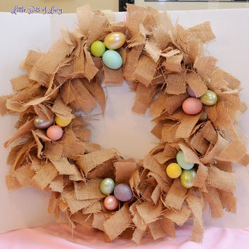 Easter Burlap Wreath Natural Color and Pastel by LittleBitsofLucy