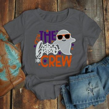 Women's Funny Halloween T Shirt Boo Crew Graphic Tee Matching Halloween Shirts Ghost