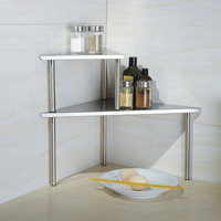 Cook N Home 2 Piece Stainless Steel Corner Storage Shelf Set