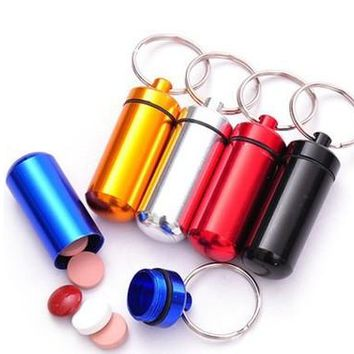 Mini Waterproof Case EDC Outdoor Emergency Medicine Drug Box Tank With Keychain Portable Sealed Aluminum First Aid Survival Pill