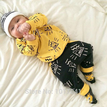 Fashion 2016 autumn baby boy clothes long sleeve tops + pants infant 2pcs unisex sport suit baby girl spring clothing set