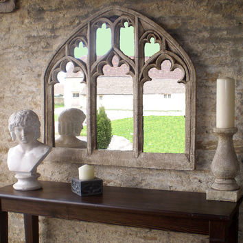 "Triple Arch OVER MANTEL church window  mirror in ""antique limestone"""