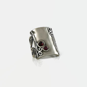 Sterling Scroll Ring - Silver Ruby Ring - Rectangle Sterling Ring - Scrolled Band Ring - Ruby Stones Ring - Size 4.75 Ring - Israel Ring
