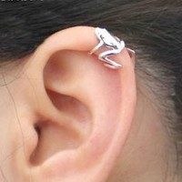 New Arrived Unique Silver Alloy Lovely Jumping Frog Ear Wrap Clip Cuff Earring