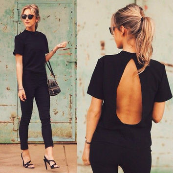 Halter Backless Short Sleeves Slim Sexy T-shirt