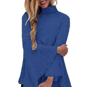 Blue Flared Bell Sleeve Knit Blouse