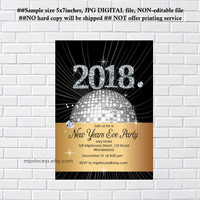 New Years Eve Party Invitation, Holiday party, 2018 holiday party,  disco, 2018 glitter , happy new years  - card 1196