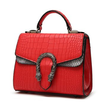 Mn&Sue Wild Style Alligator Snake Pattern Women Leather Handbag Retro Messenger Bag Flap Handle Satchel
