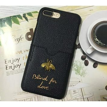 GUCCI iphone6s plus card leather hard shell mobile phone shell F-OF-SJK Black