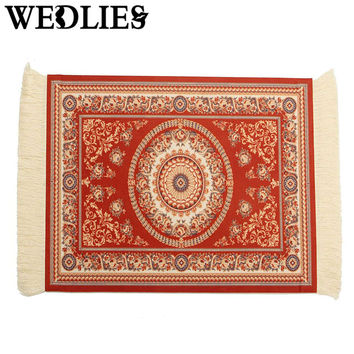 Persian Style Cotton Mouse Pad Mini Woven Rug Placemat Mousemat With Fringe Home Office Table Decorative Accessories 28X18CM