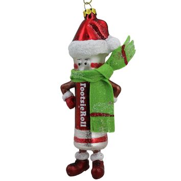 "6"" Candy Lane Tootsie Roll Original Chewy Chocolate Candy Glass Christmas Ornament"