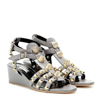 balenciaga studded leather wedge sandals 2