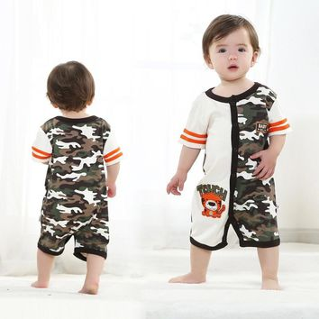 This Camo is Grrrrreat! Tiger Printed Camo Baby Summer Romper