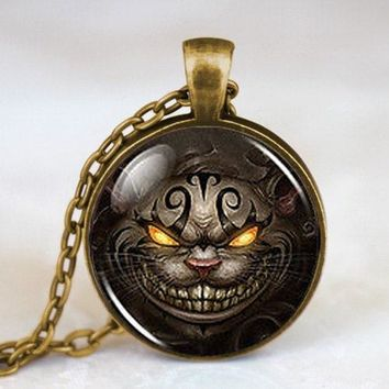 New Alice in Wonderland Cheshire Cat Fashion Necklace 1pcs/lot brass silver Pendant steampunk Jewelry Gift women man chain mens