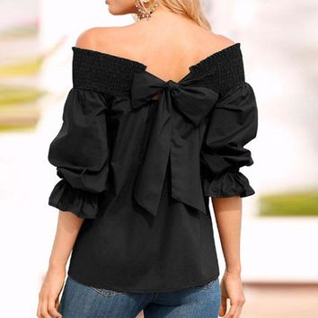 Off the Shoulder Bow Blouse