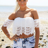 White Lace Off-Shoulder Tank Top