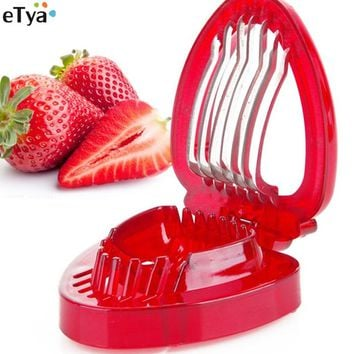 1PC Strawberry Slicer Salad Cutter Fruit Carving Tools Stainless Steel Blade Kitchens Gadgets Supplies
