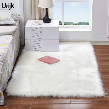 Urijk 1PC New Hairy Carpets Rug Sheepskin Plain Fur Skin Fluffy Floor Mat for Bedroom Soft Solid Washable Artificial Area Rugs