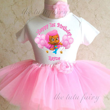Bubble Kids  Molly 1st 2nd Birthday Personalized Custom Name Age Shirt & Pink Tutu Set outfit girl 9 12 18 24 months Baby Toddler headband