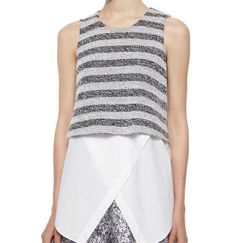 Women's Sleeveless Striped Layered Tank - Derek Lam 10 Crosby - Black/White (6)