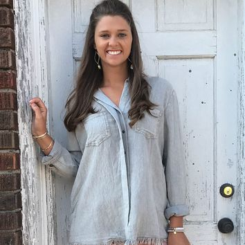 Cool Grey Button Up Frayed Top RBL