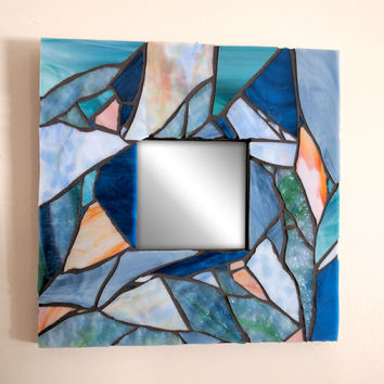 Blue Mosaic Mirror, Nautical Stained Glass Mosaic Mirror