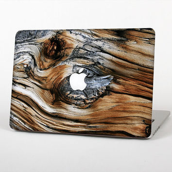 The Raw Aged Knobby Wood Skin Set for the Apple MacBook Laptop (Most Versions Available - Choose Coverage)