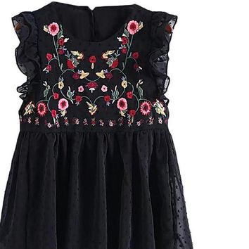 Embroidery Blouse Women Black Floral Pleated Hem Ruffle Trim Summer Tops Casual Sleeveless Cute Baby doll Blouse
