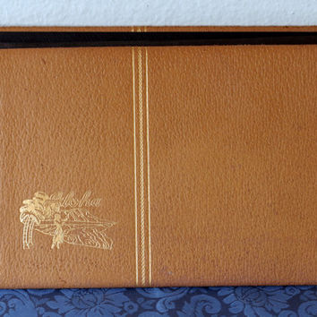 Vintage Aloha Photo Album- Leather Cover Gold Lettering- Embossed Hula Girl Diamondhead Palm Trees- Retro Scrapbook Album