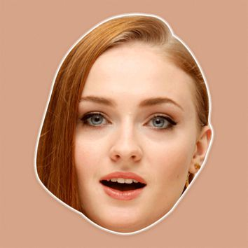 Surprised Sophie Turner Mask - Perfect for Halloween, Costume Party Mask, Masquerades, Parties, Festivals, Concerts - Jumbo Size Waterproof Laminated Mask