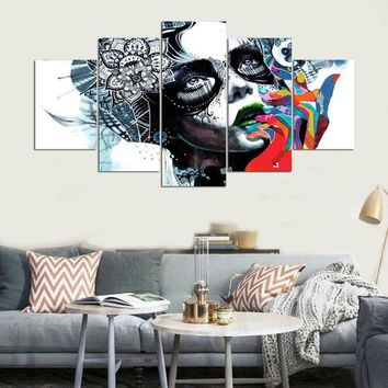 Canvas Painting Wall Art Abstract Decorative Frames Pictures 5 Panel Beautiful Girls For Living Room Bedroom Oil Prints PENGDA